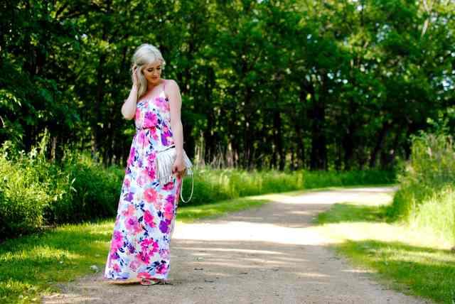 fringe bag, maxi dress