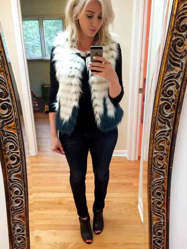 kristen blake faux fur vest