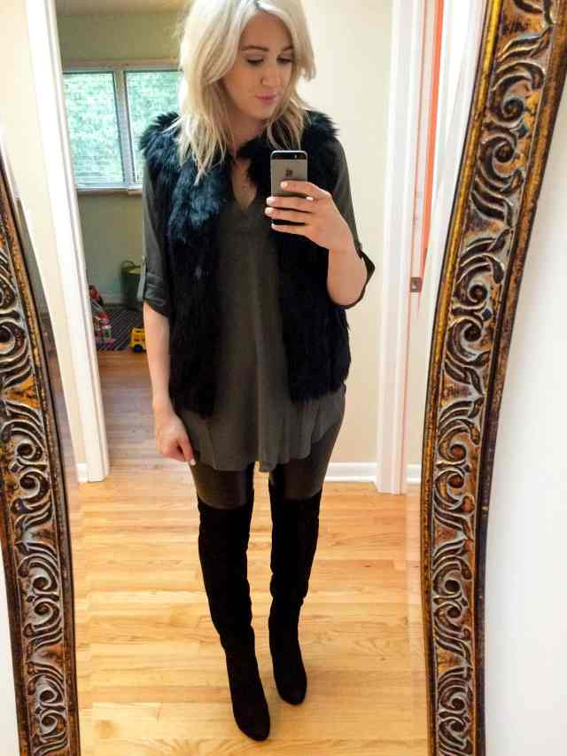 faux fur vest, faux leather leggings, over the knee boots