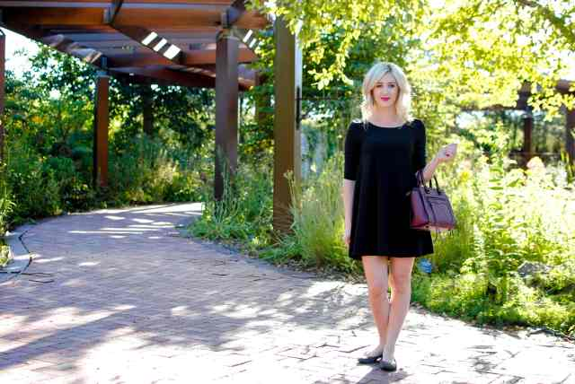 black trapeze shift dress