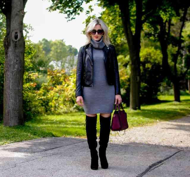 cowl turtleneck sweater dress