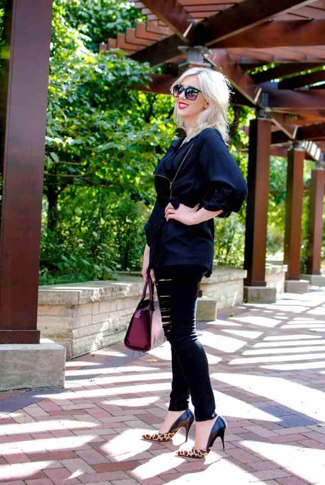 belted black jacket
