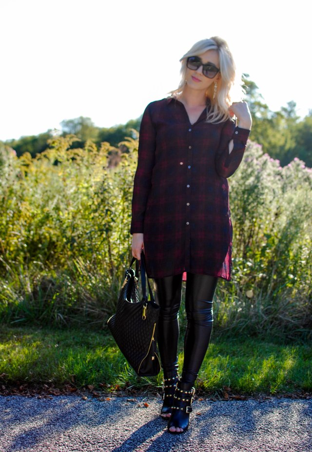 red plaid tunic, faux leather leggings, peep toe booties