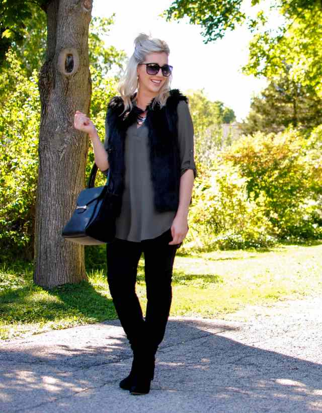 black faux fur vest, over the knee boots, tunic