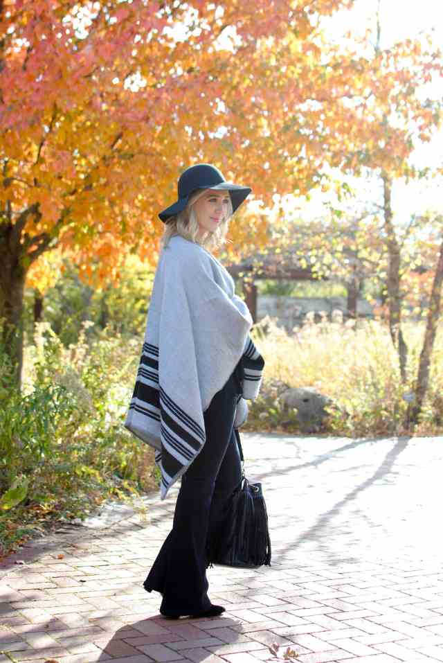 poncho, flare jeans, fall style
