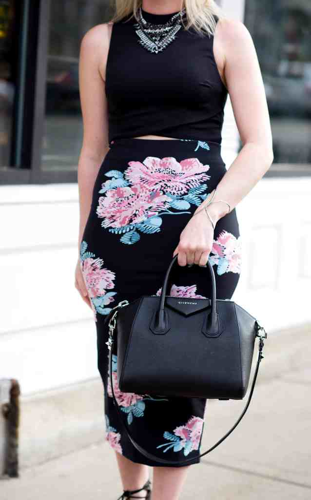 givenchy antigona black, elizabeth and james pencil skirt, topshop crop top, bcbg necklace