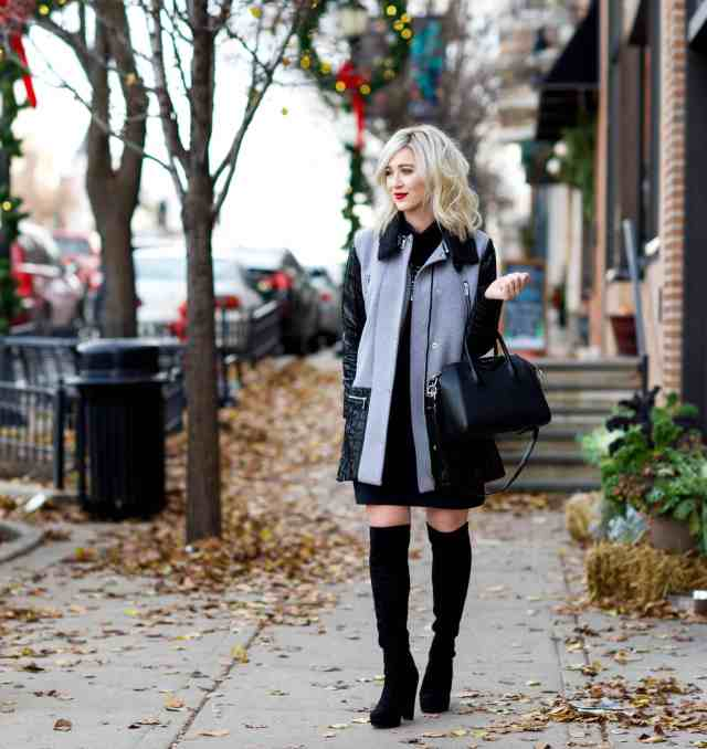 turtleneck dress, over the knee boots