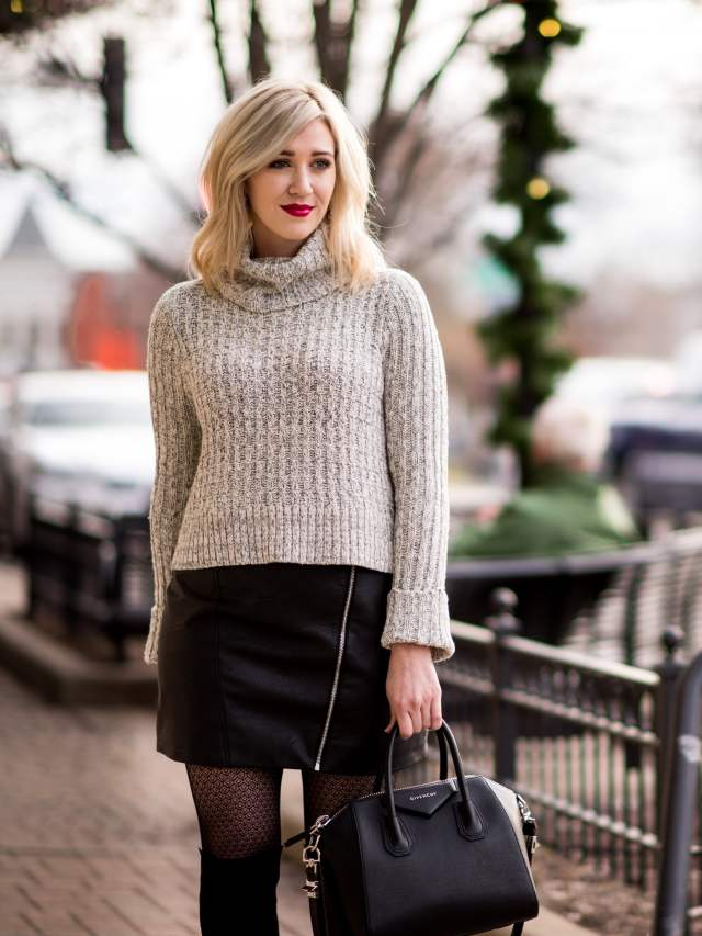 free people sweater, topshop leather skirt
