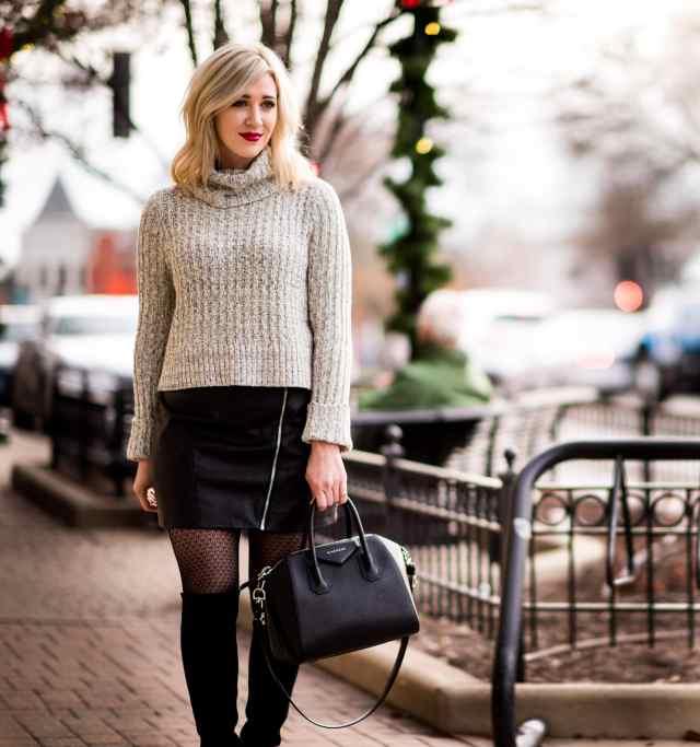 givenchy antigona, leather skirt, free people sweater