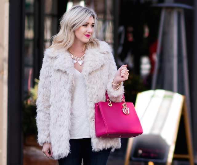 Dior DIORISSIMO bag, cream fur