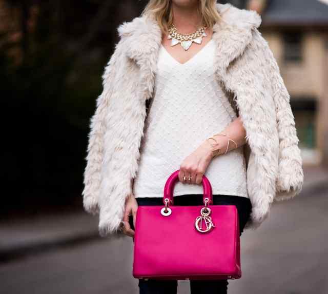 Dior DIORISSIMO pink, nadri bracelet, kendra scott necklace, topshop coat,