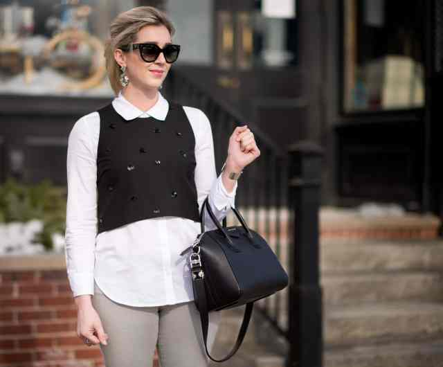 elizabeth & james vanna embellished top, givenchy antigona, prada sunglasses