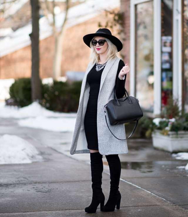 givenchy, stuart weitzman, bcbg dress, topshop vest