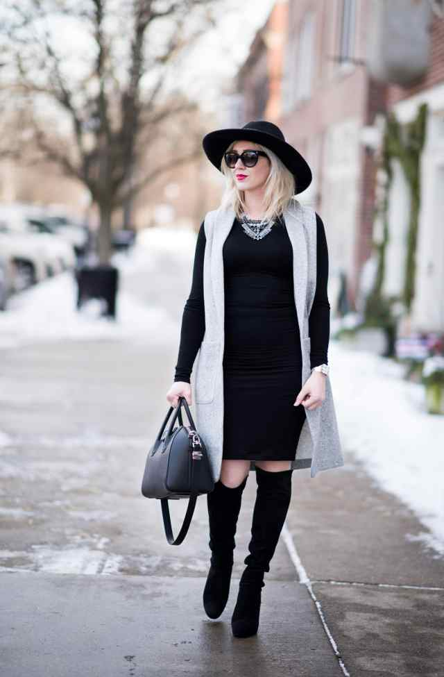 black dress, long vest, over the knee boots, hat