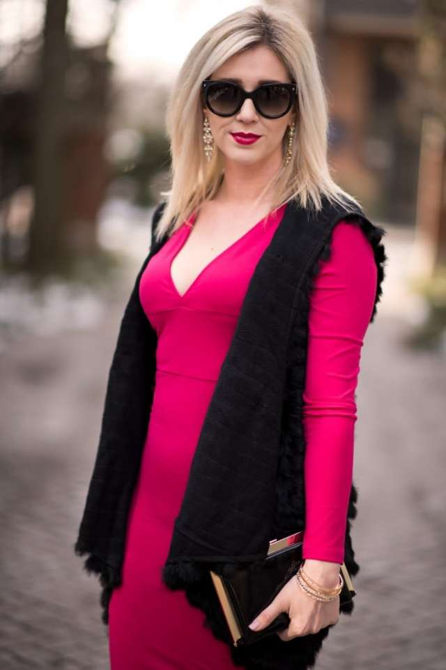 red body con dress, black fur vest