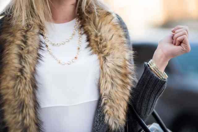ted baker Gemari necklace, bcbg lynzi top, faux fur