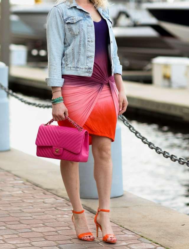 orange, pink, purple dress