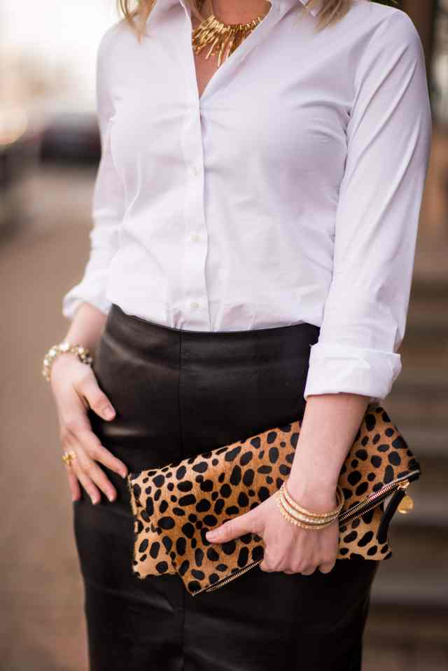clare c leopard clutch, leather skirt