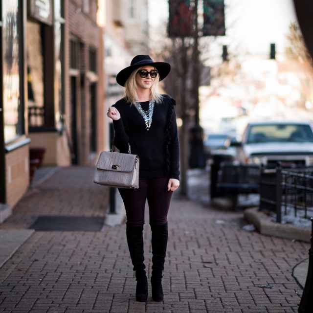 stuart weitzman over the knee boots, kate spade bag