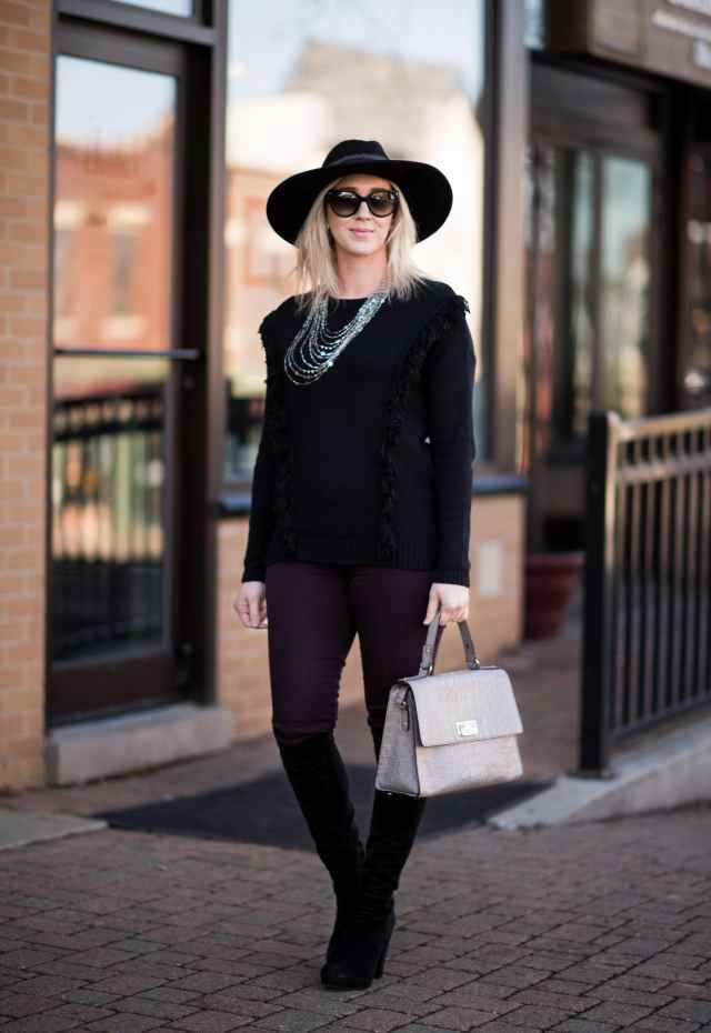 trouve fringe sweater, burgundy jeans, kate spade bag