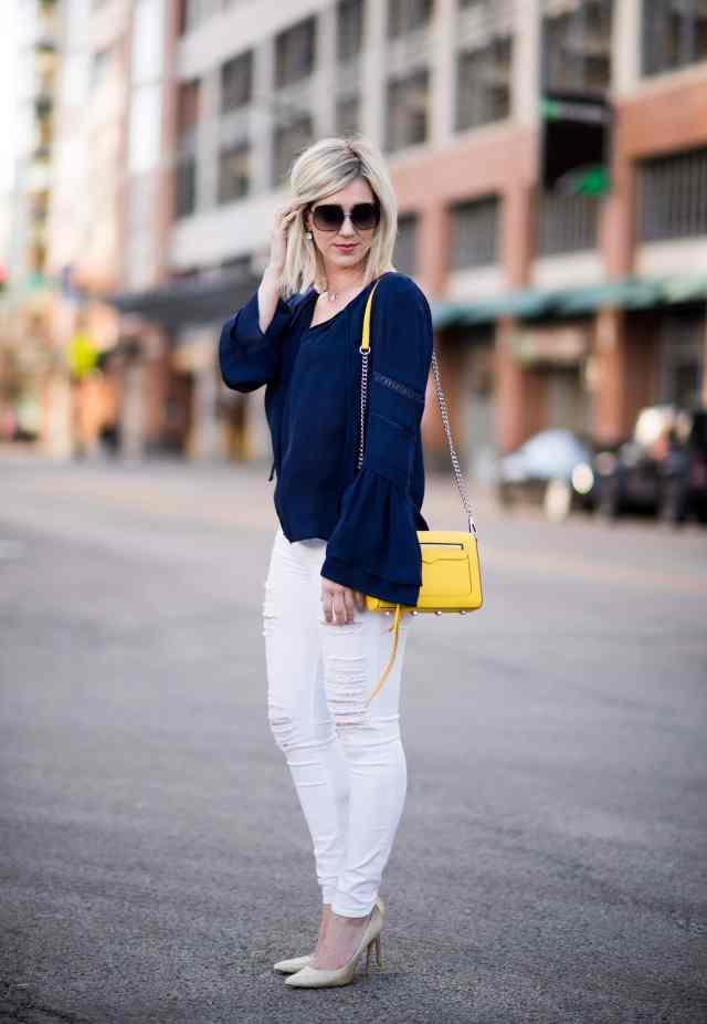navy, white, yellow spring style
