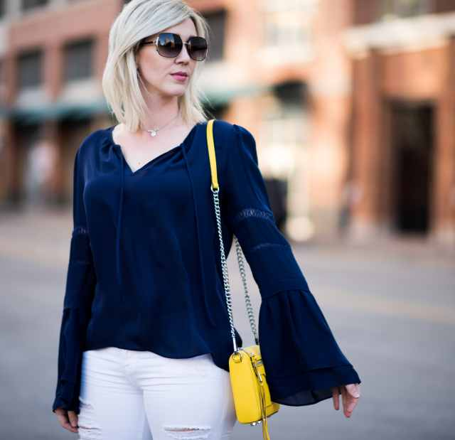 navy silk bell sleeve, rebecca minkoff yellow bag