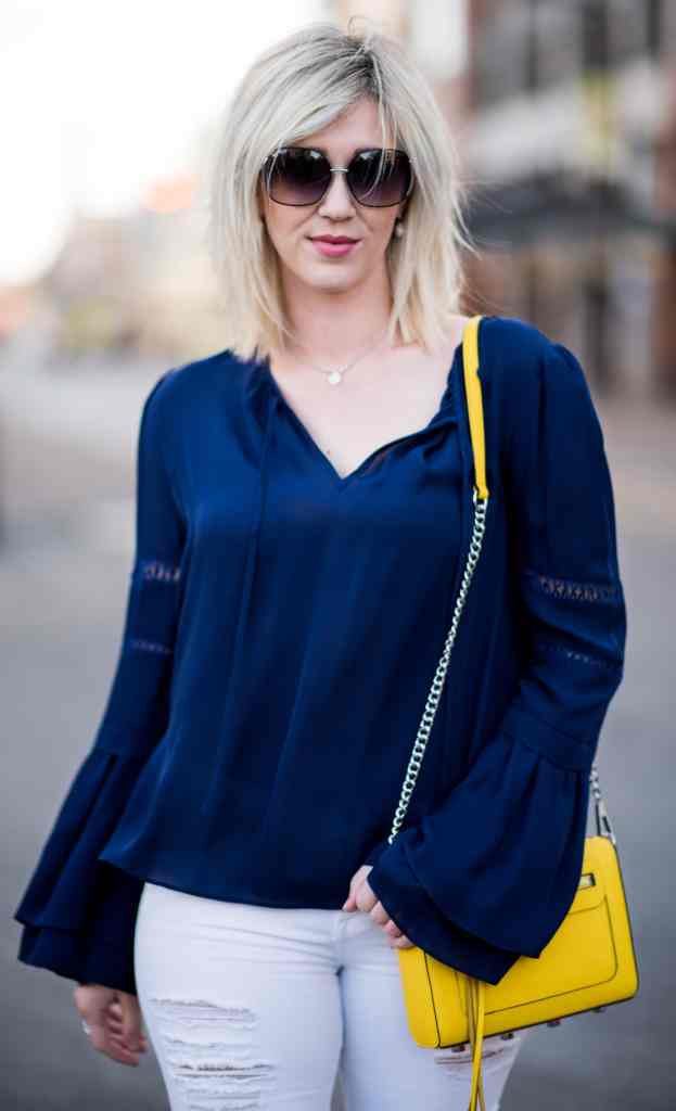 spring style, navy bell sleeve top, yellow bag