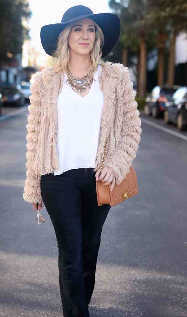 fringe jacket, floppy jat, chanel bag