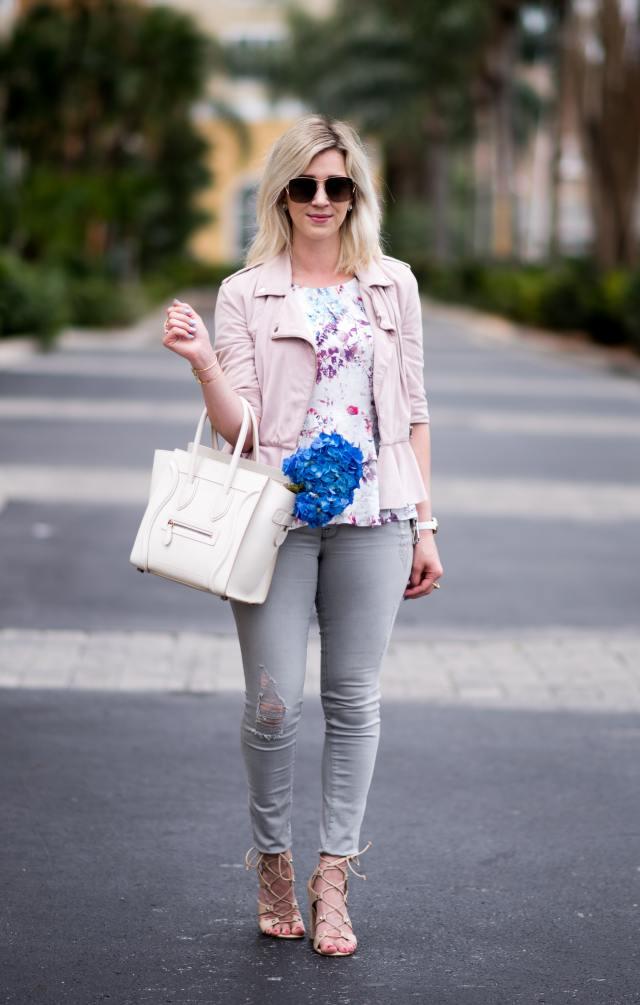 pink suede jacket, celine bag