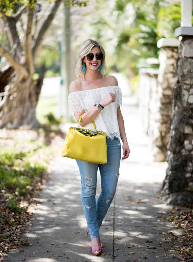 Destroyed Denim with Manolo Blank and Fendi bag