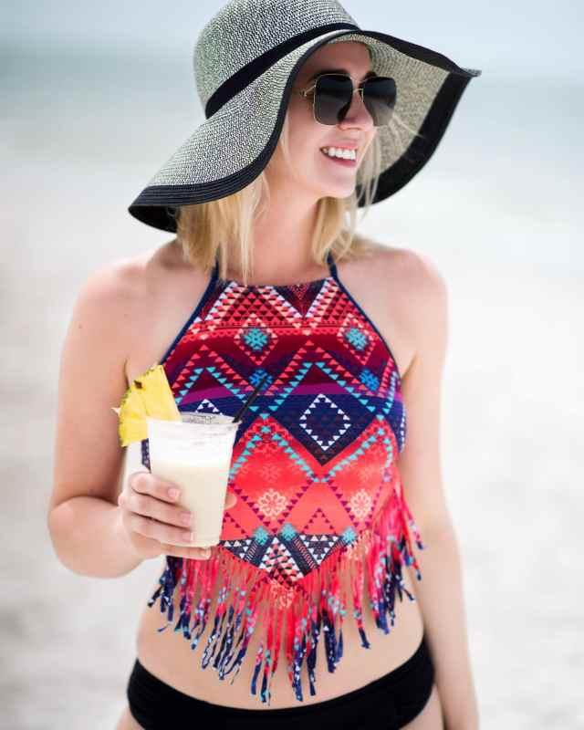 swim suit top, beach