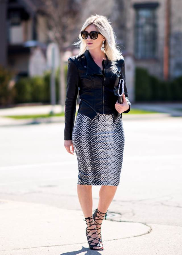 black & white pencil skirt
