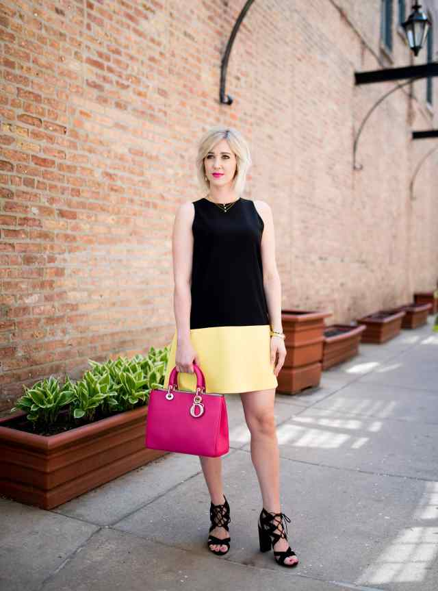 alice & olivia Dorma colorblock shift dress
