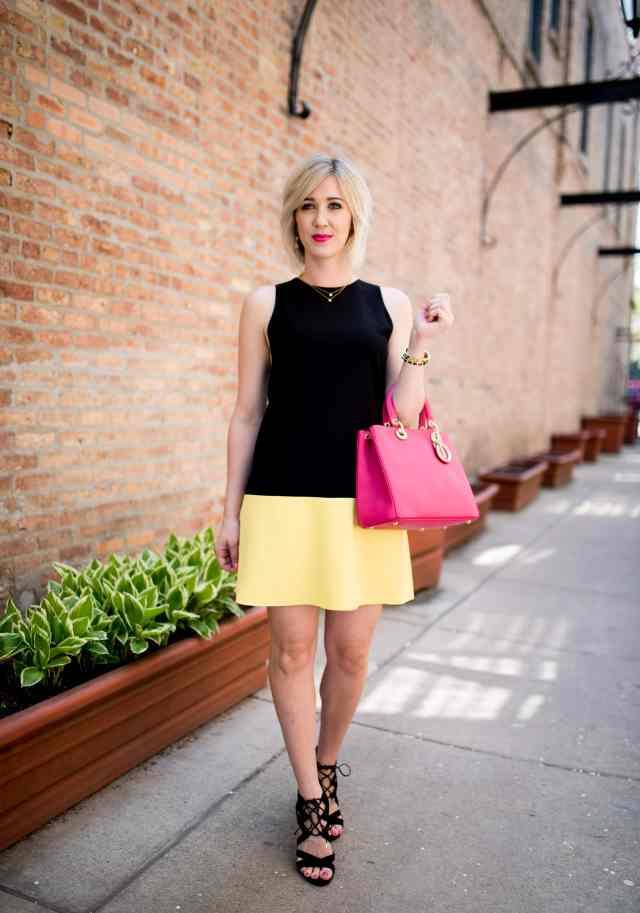alice & olivia colorblock shift dress