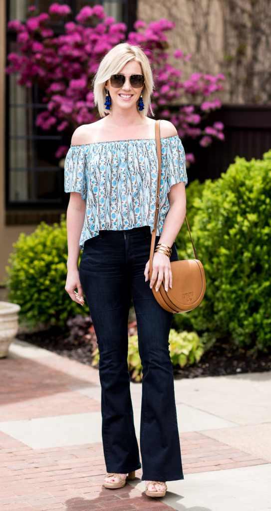 flare jeans & off the shoulder top