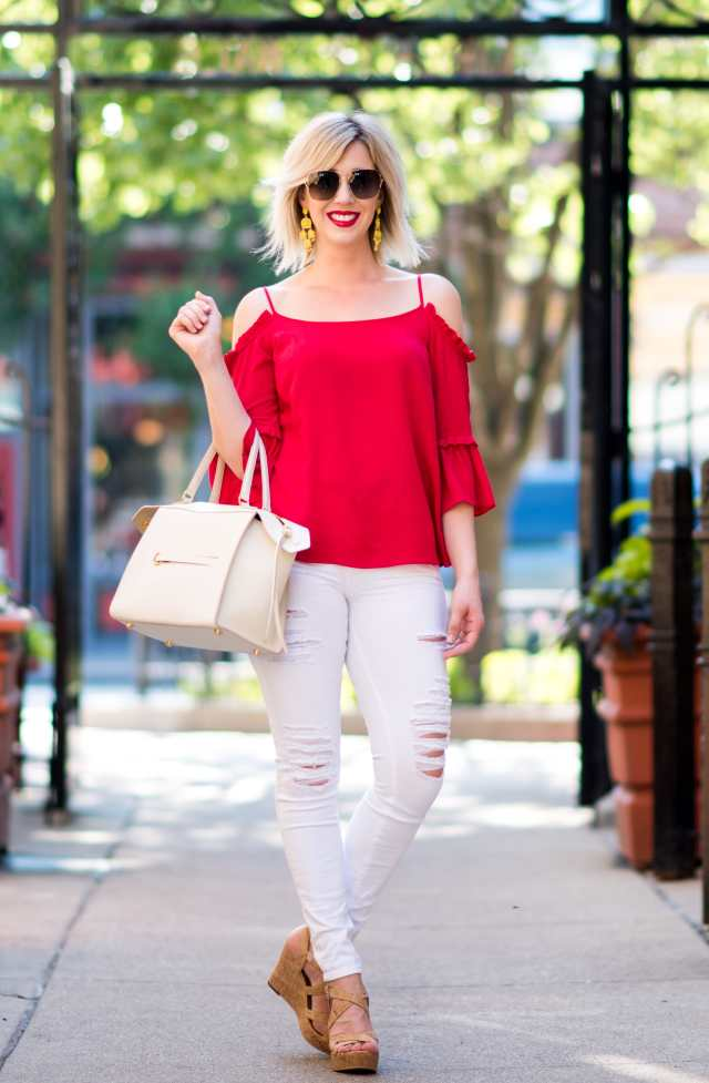 cold shoulder top with bell sleeves