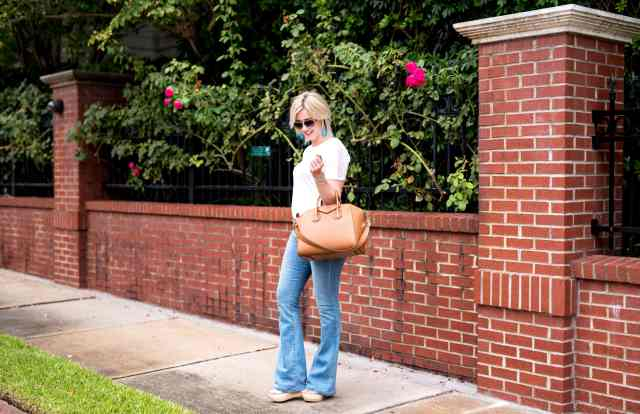 t-shirt and flare jeans