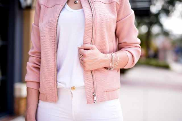 Topshop Neo Punched Bomber Jacket, dark pink