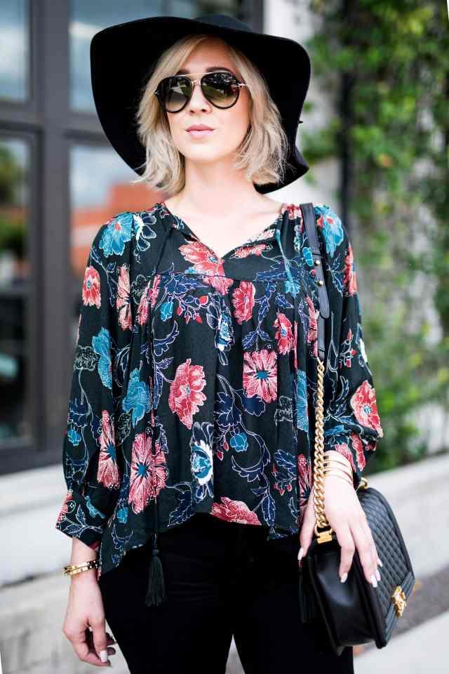 ASTR Esther floral print peasant blouse