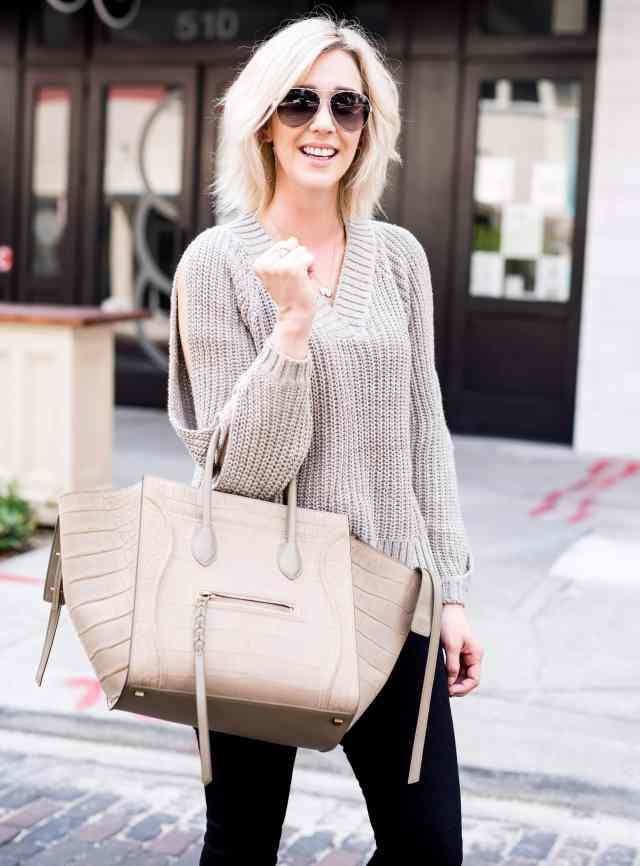 leith ribbed cold shoulder sweater
