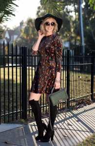 topshop ditsy print velvet skater dress