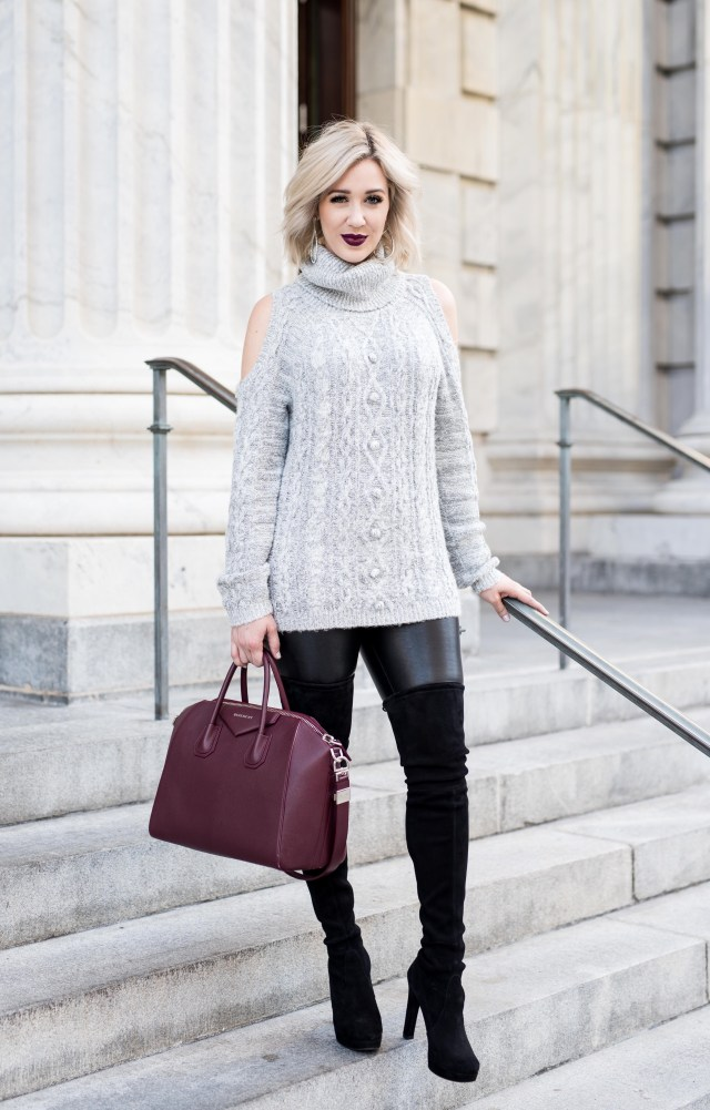Sequin Cold Shoulder Sweater