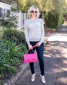 chelsea28 Ruffle Stripe Sweater