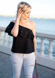 sincerely Jules Everly One-Shoulder Cotton Top
