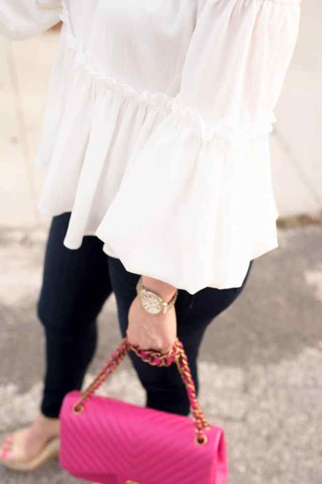 J.O.A. Ruffle Off the Shoulder Top