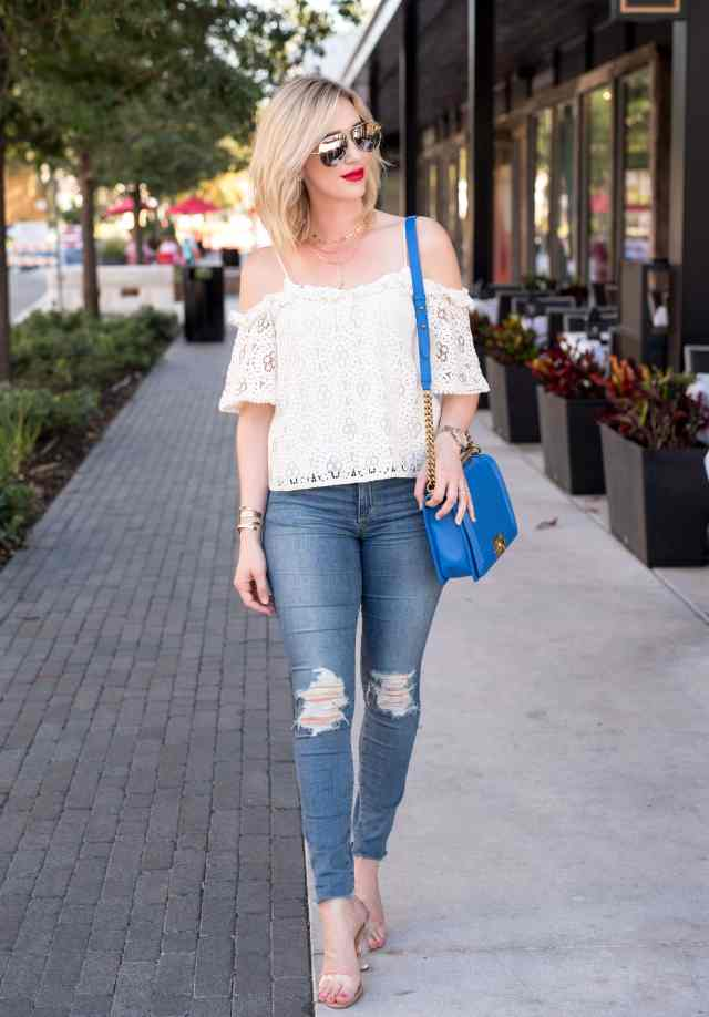 topshop Ruffle Lace Off the Shoulder Top