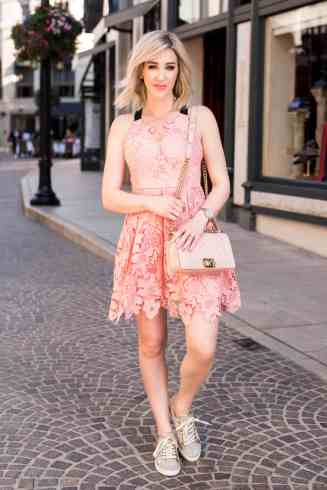 Pink Lace Dress & Sneakers
