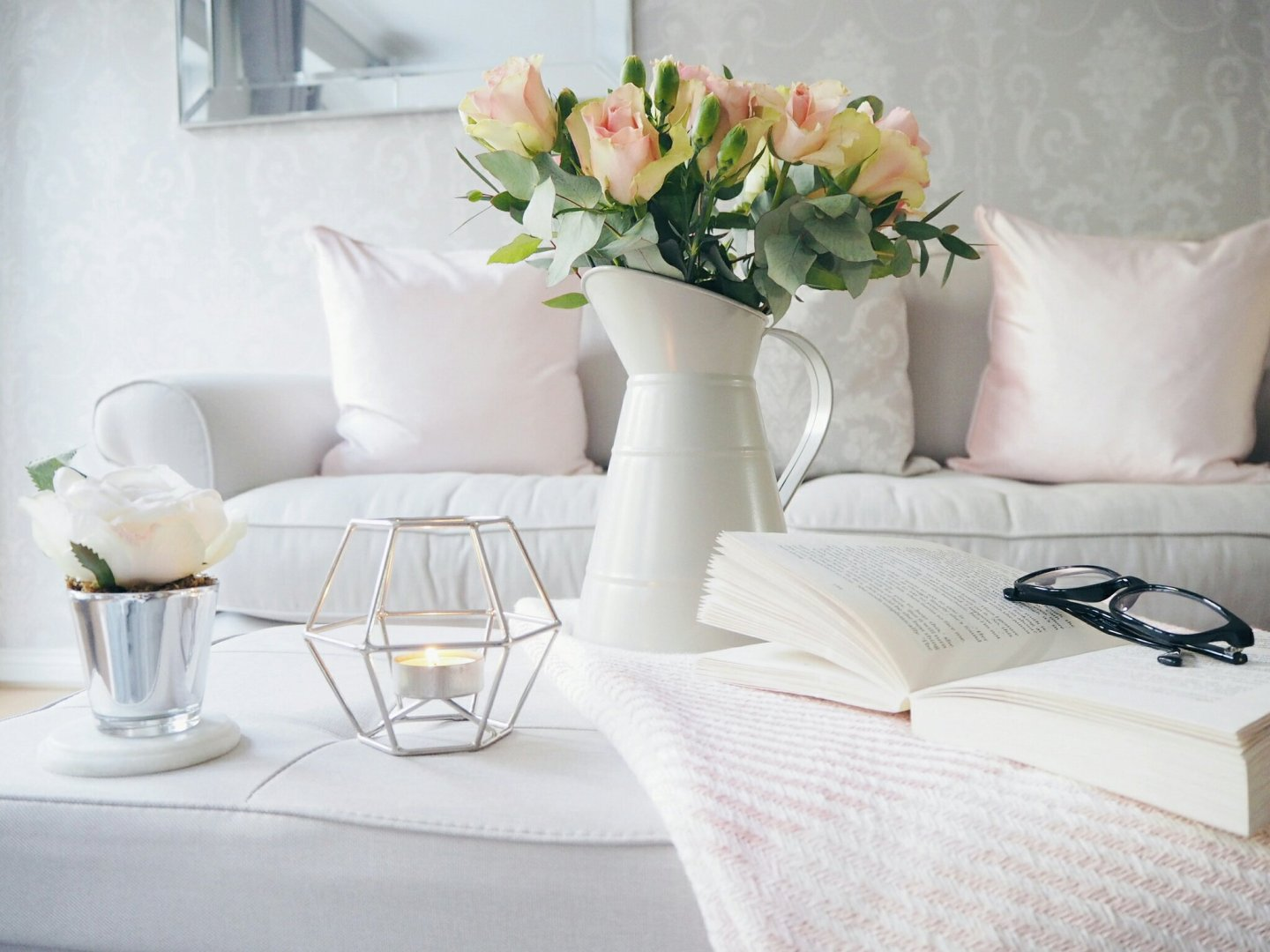 Pink and grey spring home accessories