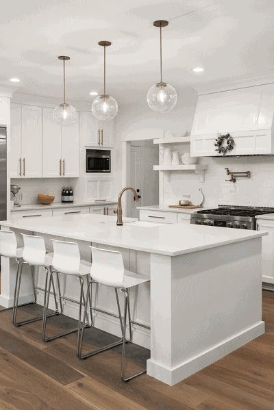 beautiful pendant lights over kitchen