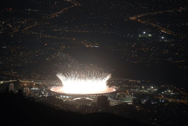Maracana Stadium is lit by fireworks during the opening ceremony of the Rio 2016 Olympic GamesThe carnival capital of the world is hoping the extravaganza at the Maracana Stadium will draw a line under a turbulent seven-year build-up dogged by recession, rising crime and doping scandals. / AFP / DAMIEN MEYER (Photo credit should read DAMIEN MEYER/AFP/Getty Images)